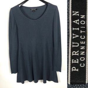 Peruvian Connection Long Sleeve Blue Tunic Large